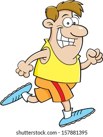 Cartoon illustration of a man running.