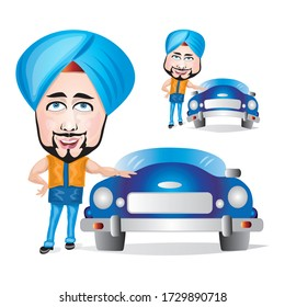 Cartoon illustration of man standing with his blue car. Business man/marketing executive with turban.