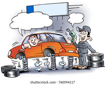 Cartoon illustration of a mechanic who just testing the shock absorbers on the car before the new tires mounted