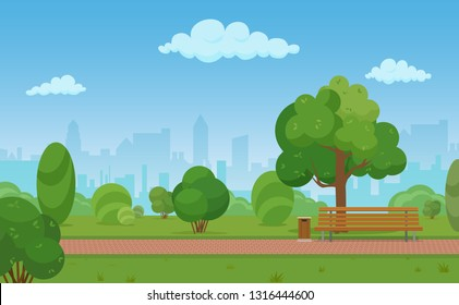 cartoon illustration of a modern empty city park with skyscrapers buildings background.