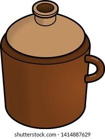 Cartoon illustration of a moonshine jug