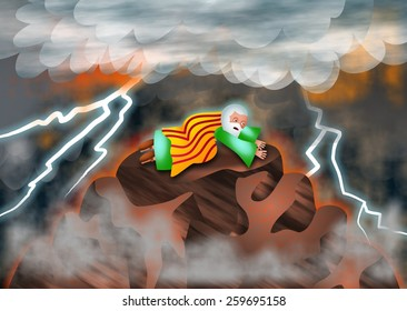 A cartoon illustration of Moses on Mount Sinai listening to the voice of God as he receives the ten commandments.