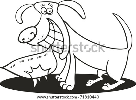 Cartoon Illustration Naughty Dog Coloring Book Stockillustration ...