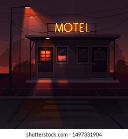 Cartoon illustration of night motel. Light. Facade. Grunge effect.