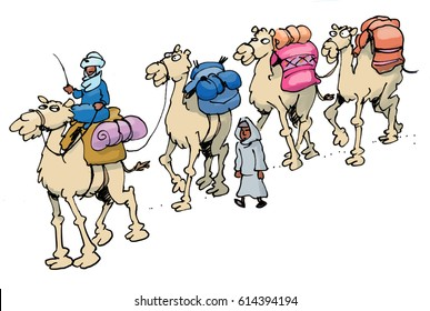 cartoon illustration od a camel train riding through the desert