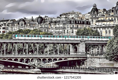 Cartoon illustration of paris architrecture with metro train crossing old bridge