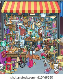 Cartoon illustration of a Parisian flea market antique stall. Stand is crowded with many different collectibles, objects, treasures, and junk