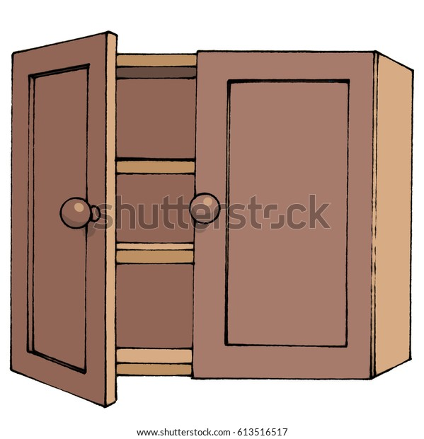 Empty Cupboard Cartoon: Cartoon Illustration Partly Open Empty Bare Stock