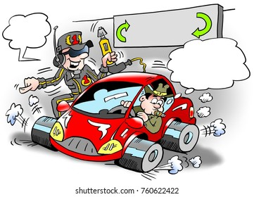Cartoon illustration of a pensioner there has been fitted with cool new racing tires on his small car