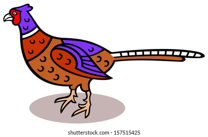 Cartoon illustration of a pheasant