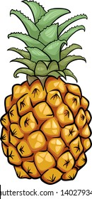 Cartoon Illustration of Pineapple Fruit Food Object