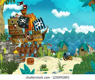Cartoon illustration - pirates on the wild island - illustration for the children