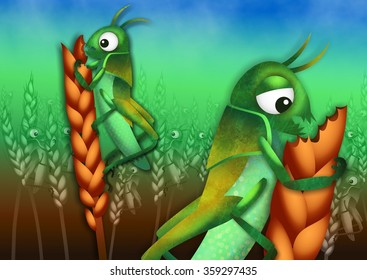 A cartoon illustration of the plague of locusts from the book of Exodus with locust insects ravaging a field of wheat crops.