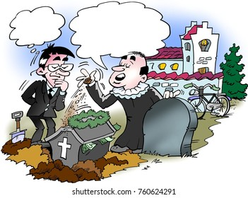 Cartoon illustration of a priest buried a coffin with a lot of money