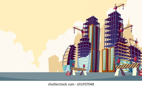 cartoon illustration of the process of the construction of buildings with construction crane. Cartoon banner construction site