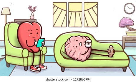 Cartoon illustration of a psychologist heart in a therapy session with a sad brain lying on couch. Version with therapy room in background.
