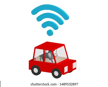A cartoon illustration of a ride car hailing service on white background