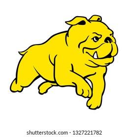 A cartoon illustration of a running bulldog.