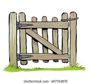 A cartoon illustration of a rustic wooden garden gate