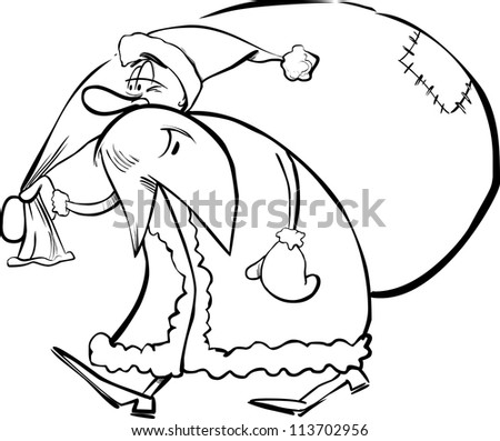 cartoon illustration of santa claus or father christmas or papa noel with sack of presents for