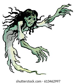 Cartoon illustration of a scary ghost girl, with hollow eye sockets and long, dark, wet-looking hair, and large, green, clawed hands