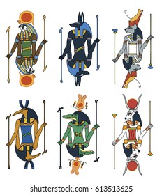 Cartoon illustration of a set of ancient Egyptian Gods, including, Horus the hawk, Anubis the dig, Bastet the cat, Thoth the bird or ibis, Hathor the cow and Sobek the crocodile God