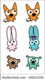 A cartoon illustration set of funny animals showing different emotions. Included in this set: fox, rabbit, bear, dog.