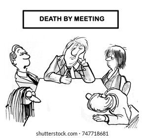 Cartoon illustration showing five business people who are dead or asleep in a meeting, 'death by meeting'.