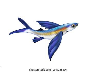 cartoon illustration of a single Flying fish.