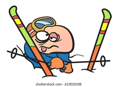 Cartoon Illustration of a skier who has had an accident and fallen into a snow drift