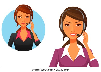 cartoon illustration of a smiling customer support operator with headset