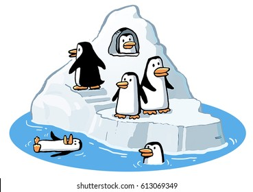 Cartoon illustration of some penguins in their home on a floating iceberg, in the penguin habitat in the zoo