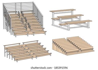 cartoon illustration of stadium bench
