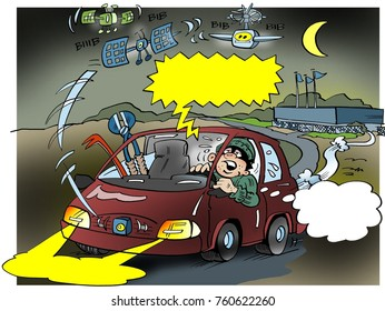 Cartoon illustration of a a thief that can not escape satellite surveillance