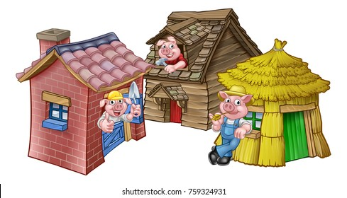 A cartoon illustration from the three little pigs childrens fairytale story, of the 3 pig characters with their straw, wooden and brick houses.