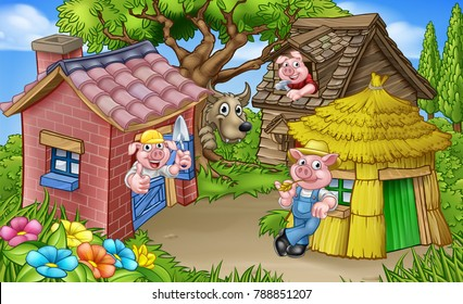 A cartoon illustration from the three little pigs childrens fairytale story, of the 3 pig characters with their straw, wooden and brick houses and the big bad wolf peeking from behind a tree.