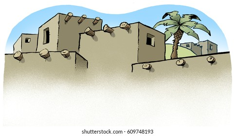 Cartoon illustration of the tops of biblical era buildings, for use as a background or header image.