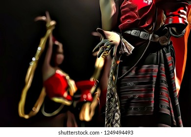Cartoon illustration of traditional thai woman dancer with beautiful red dress during Loy Krathong festival in Chiang Mai, Thailand