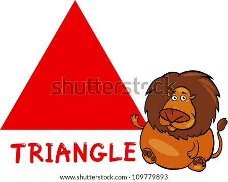 8b70d1d751f Cartoon Illustration of Triangle Basic Geometric Shape with Funny Lion  Character for Children Education
