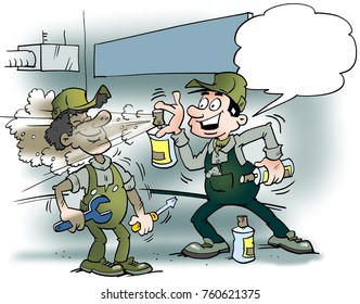 Cartoon illustration of two mechanics spraying color or fresh air into the workshop room
