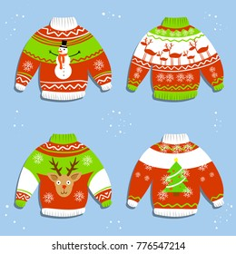 Cartoon illustration - Warm winter knitted Christmas sweater. A set of Jumpers with the new year pattern - reindeer, tree, snowman, snowflakes.