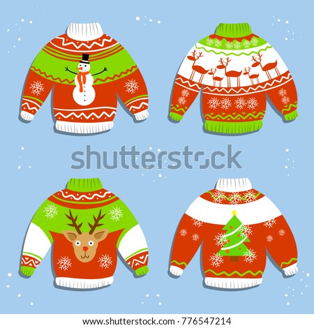 eec7de8de Cartoon illustration - Warm winter knitted Christmas sweater. A set of  Jumpers with the new year pattern - reindeer