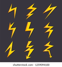 cartoon illustrations of lightning set isolate. Stylized pictures for logo design