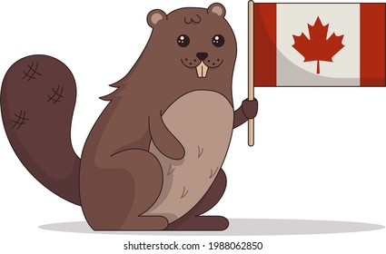 cartoon image of a beaver in honor of Canada Day with the national flag in its paw. image in flat style