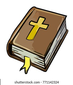 Cartoon image of Bible Icon. Religion symbol. An artistic picture.