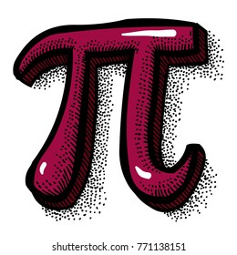 Cartoon image of Pi symbol. An artistic freehand picture.