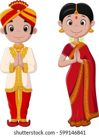 Cartoon Indian couple wearing traditional costume