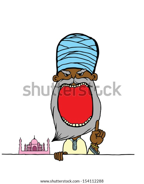 Cartoon of an Indian Yogi wearing a turban with a wide open mouth with blank space for text.