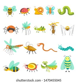 Cartoon insects set.  isolated icons of funny bugs of bumblebee or bee, butterfly or dragonfly, snake and spider with caterpillar and snail for kid design elements