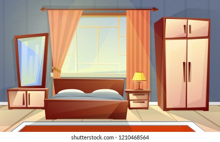 cartoon interior of cozy bedroom with window, living room with double bed, dresser, carpet. Colorful background of house inside, apartment concept with furniture